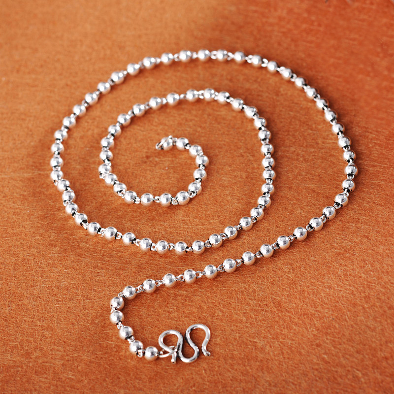 S925 Sterling Silver Necklace 19inch Smooth Beads Chain 3mm Women NecklaceS925 Sterling Silver Necklace 19inch Smooth Beads Chain 3mm Women Necklace