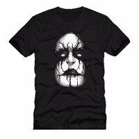 Printed Men T Shirt Short Sleeve Funny Tee Shirts Black Metal Rock Kiss Face Pre Cotton