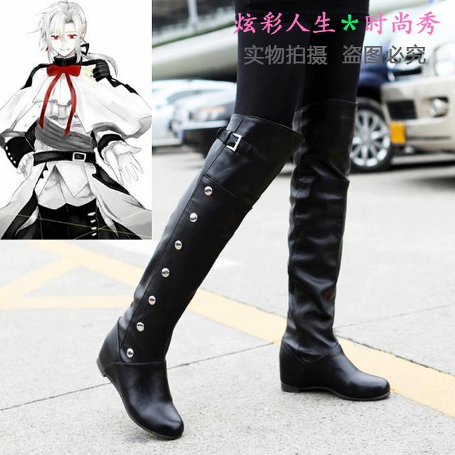 Freeshipping anime Owari ningún Serafín de finales Ferid Bathory Hyakuya Mikaera Mikaela Cosplay Botas Zapatos hechos a medida de Halloween