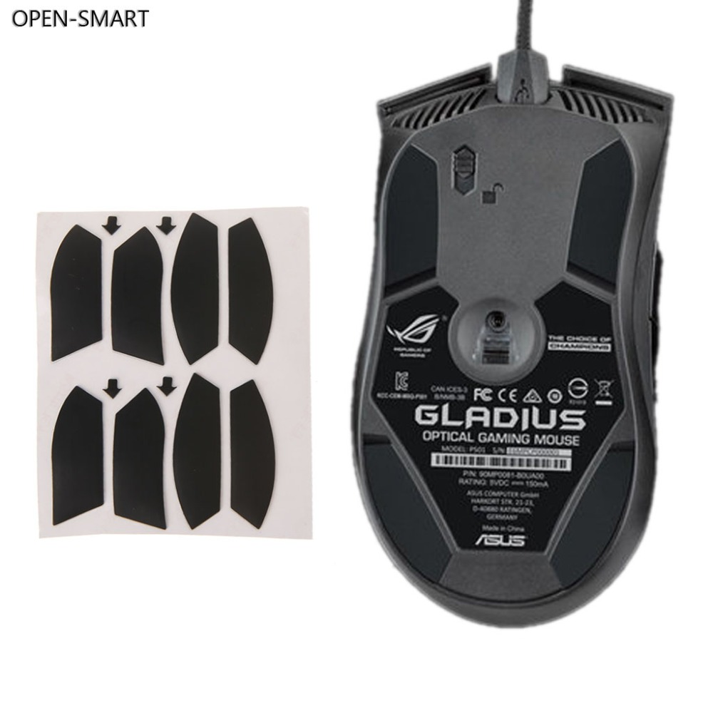 OPEN-SMART 2 Set 0.6mm Thickness Teflon Mouse Feet Mouse Skates For Asus ROG Gladius P501