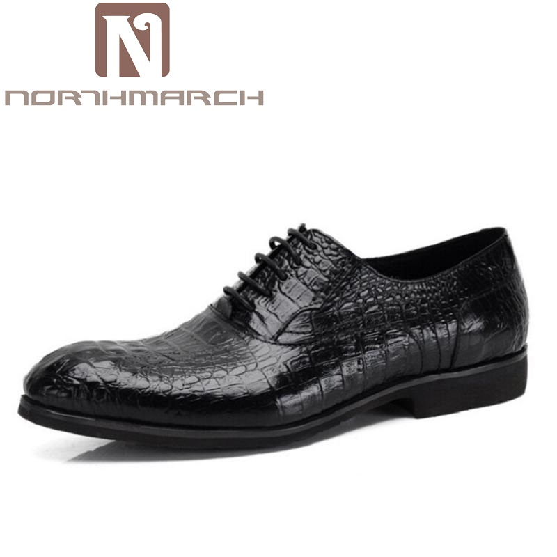 NORTHMARCH Men Italian Elegant Formal Dress Leather Shoes Winter Luxury Crocodile Pattern Male Footwear Fashion Oxford Shoes Men men s dress shoes crocodile pattern british work shoes men s business shoes elegant fashion shoes with suit