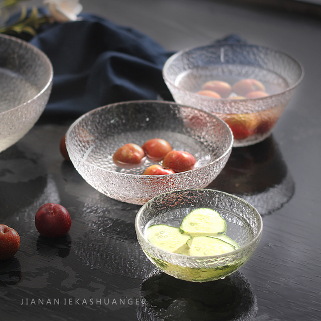 Handmade Good Clear Lead Free Glass Salad Bowls Soup Mixing Fruit Candy Serving Noodle Snack Rice