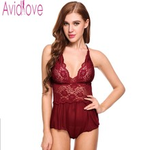 Avidlove Womens Sleeveless Pajamas Lace Patchwork Sexy Dell V Neck Nightgown Sleepwear See-through Mini Dress
