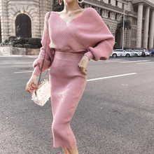 Winter Women 2 Piece Sets Sweater Set Warm Knitted Tracksuits V-neck Lantern Sleeve Pullover & Elastic Waist Skirt Suit Femme