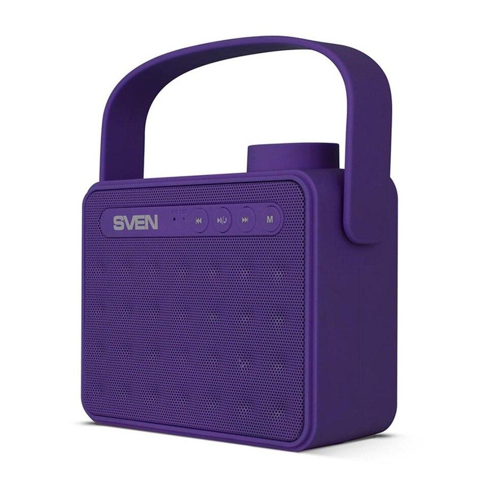 Купить со скидкой Портативная акустика АС SVEN PS -72, фиолетовый (6 Вт, Bluetooth, FM, USB, microSD, ручка, 1200мА*ч)