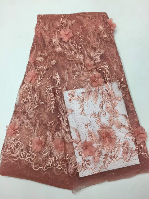 3D Flower African Beads Lace Fabrics 5 Yards Peach Nigerian French Lace Fabric, 2018 High Quality Beaded Tulle Fabric3D Flower African Beads Lace Fabrics 5 Yards Peach Nigerian French Lace Fabric, 2018 High Quality Beaded Tulle Fabric