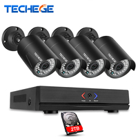 Techege 4CH CCTV NVR System POE NVR 1080P Video Output 4PCS 2 0MP 1080P Waterproof Night