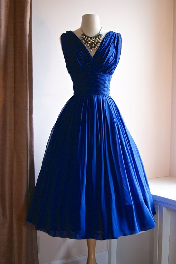 2016 Vintage Tea Length 1950s Royal Blue Ruched Chiffon