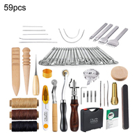 59PCS Leather Sewing Tools Kit Leather Craft Tool Leather DIY Hand Stitching Tools for Sewing Leather Canvas Hot Sale