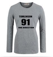 Tomlinson One Direction No. 91 1D Disegno Del Modello Stampato Maniche Lunghe T-Shirt Della Ragazza delle Donne Graphic Tee Top T camicie
