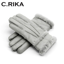 100 pure sheepskin Winter Gloves Women Real Sheepskin cashmere Fur Warm Gloves Ladies Full Finger Genuine Leather mitten gloves cheap Gloves Mittens 1707024 Cashmere Fur Genuine Leather Fashion C RIKA Wrist Solid Adult women leather gloves winter women gloves