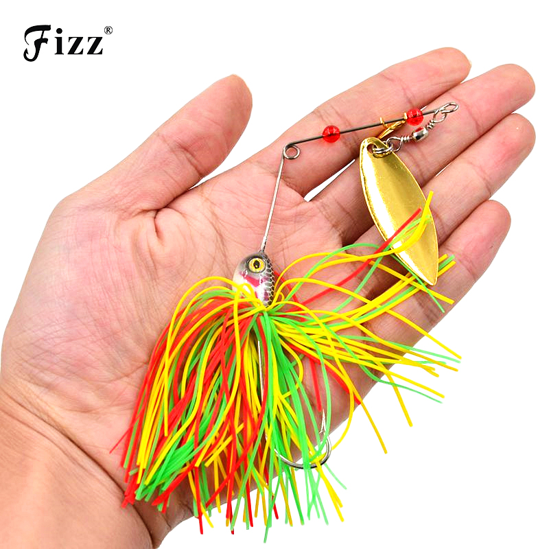 все цены на 1 Piece 20.5g Super Luring Spinner Bait Double Reflective Golden Metal Spoon Buzzbait 3D Fish Eye Fishing Lure with Hook SB004 онлайн