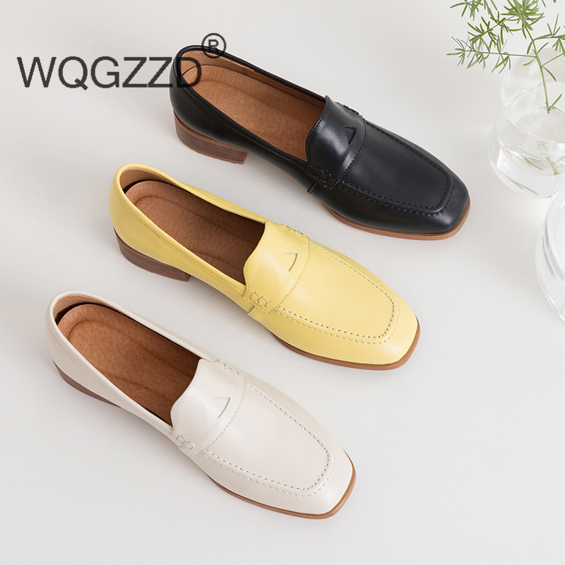 New brand flat shoes women s loafers genuine leather square buckle British style Muller shoes Loafers