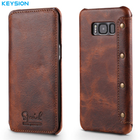 KEYSION Case For Samsung Galaxy S8 S8 Plus Genuine Real Leather Wallet Full Body Protective Cover