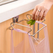 Shelf Organizer for Garbage & Rubbish Stainless Steel Holder Door Hook Garbage Bags Hanger Cupboard Stand Support Storage Rack(China)