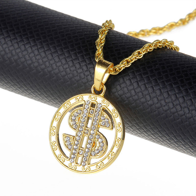 US Dollar Sign Micro Pave Rhinestone Necklace