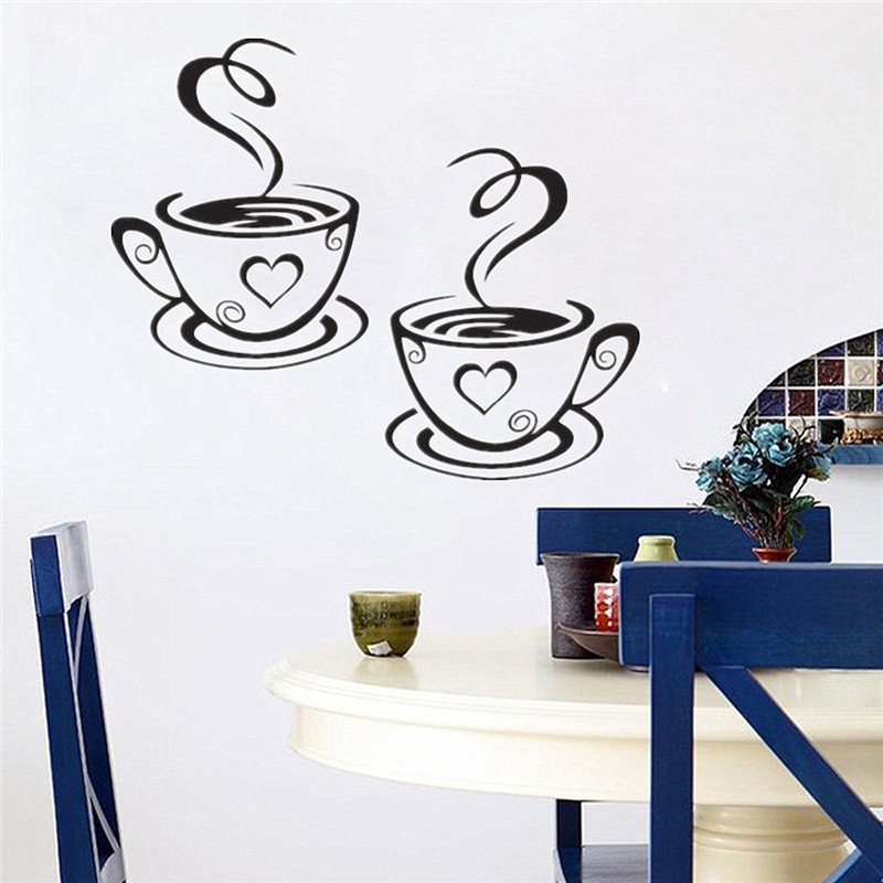Aliexpress.com : Buy Newest Beautiful Design Coffee Cups Cafe Tea Wall  Mural Vinyl Art Decal Kitchen Restaurant Wall Decor Y 256 From Reliable  Wall Frame ...
