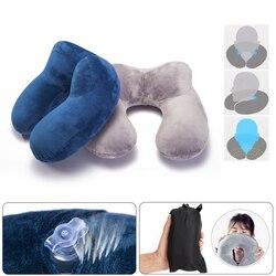 Nadmuchiwane poduszki podróżne w kształcie litery U składane wygodne poduszki na zewnątrz przenośne poduszki do snu samolotu pociągu