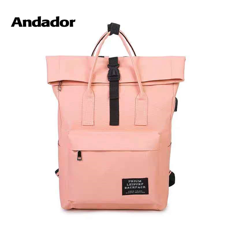 Girls Backpacks Travel-Bags Canvas Teenager Pink Large-Capacity Antitheft Fashion Women