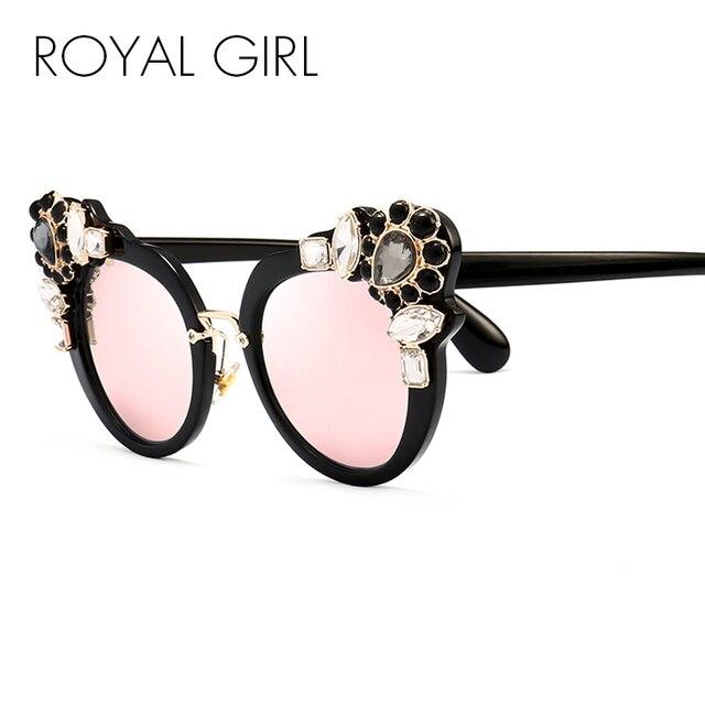 4a6ab7ef976f3 ROYAL Luxo MENINA Mulheres Olho de Gato óculos de Sol Espelho Revestimento  de Cristal dourado Do