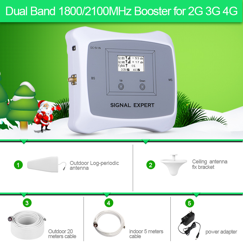 2018 Smart Dual Band 2G 3G 4G  Mobile Signal Booster 1800/2100MHz Cellular Signal Signal Repeater/Amplifier For Europe Assia Etc