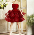 Organza Ball Gown Cocktail Dresses Knee-Length High-end refined Pleat burgundy prom dresses YY1290