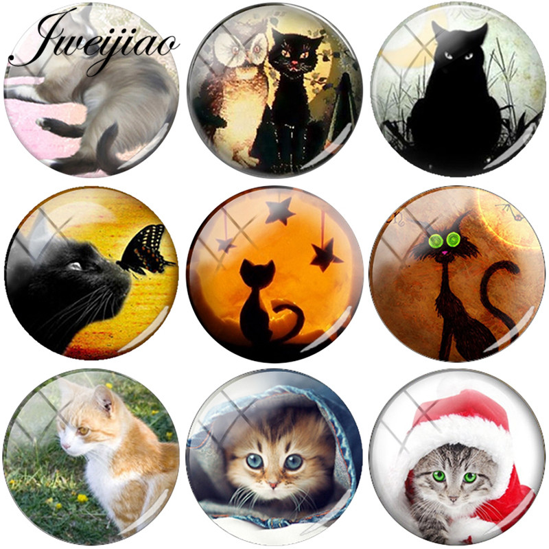 JWEIJIAO Lovely Animal Pet Cat Art Picture DIY Glass Cabochon 6 Sizes Dome Jewelry Findings For Charm Earrings Brooch Necklace(China)