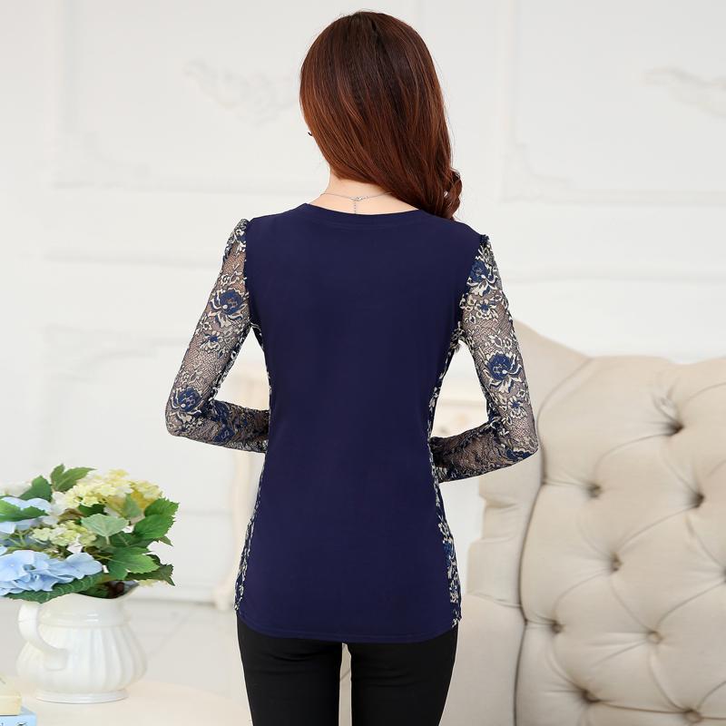 Yeni 2018 Moda Yüksek Kaliteli kadın artı boyutu dantel bluz - Bayan Giyimi - Fotoğraf 3