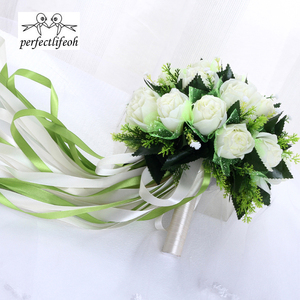 Image 4 - باقة الزفاف من perfectlifeoh Ramos de novia بوكيه من الورود البيضاء باقة زهور الزفاف الرومانسية من الحرير للعرائس
