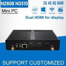 Без вентилятора мини-ПК офисный компьютер Celeron N2808 Pentium N3510 Quad Core 2 * HDMI Media Player Windows 10 Мини рабочего HTPC Дисплей