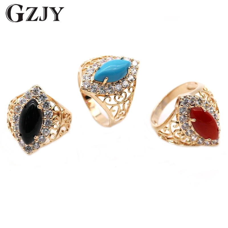 GZJY Female Stone Ring Fashion Champagne Gold Color Jewelry Promise Engagement Rings For Women Birthday Stone Gifts