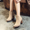 Marca de lujo Botas de Nuevo Estilo de Otoño Invierno de Las Mujeres Zapatos de Nieve botas De Tacón Cuadrado Botines de Tobillo Abkle Nudo Zapatos de Invierno señora