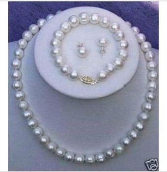 13- 14mm natural south sea white baroque white pearl necklace& bracelet &earring