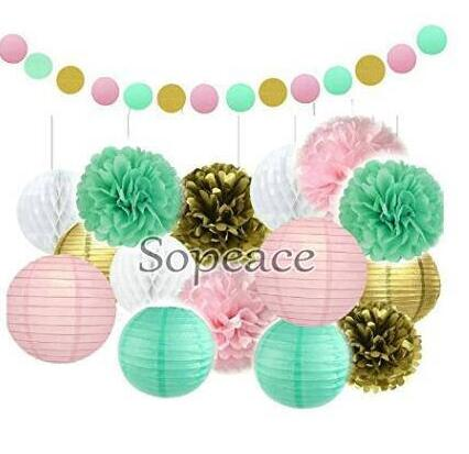 16 Pcs Gold Tissue Paper Flowers And Pink Pom Poms Lanterns For Baby