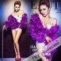 2016 do sexo feminino trajes sexy partido boate figurinos para o cantor dançarino estrela Jazz dance bar show de desempenho Pena jaqueta