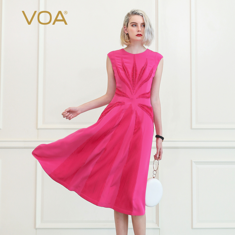 VOA красная роза вечерние рукавов партия шелк женское платье для подиума Сладкий Длинные платья осень тонкий элегантный ретро одежда роскош