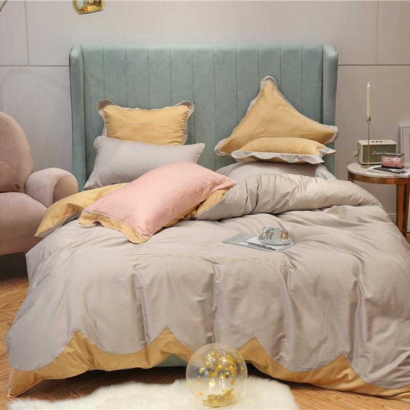 Queen King Size Luxury Red Pink Egyptian Cotton Bedding Set Bedsheet Duvet Cover Fitted Sheet Bed Set Ropa De Cama Parure De Lit