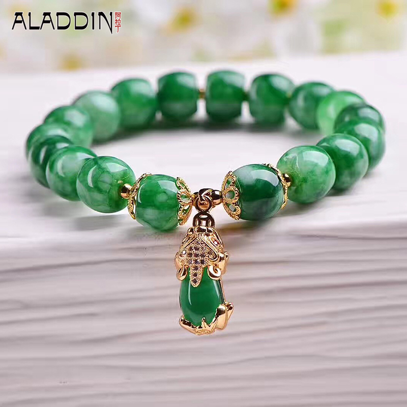Aladdin New Stem Green a Lap Bracelet Tibetan Silver Nature stone Fashion jewelry Animal Pendant for Mother's Day Gift
