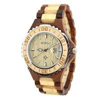 BEWELL Top Brand Luxury Waterproof Wood Watch 100BG Men Analog Display Date Wristwatch Relogio Masculino Quartz