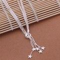 925 Estrela Longo Colar de Pingente de Jóias de Prata Elegante Para Senhoras Cadeia Mulit Colar Do Casamento da Noite Partido AN440