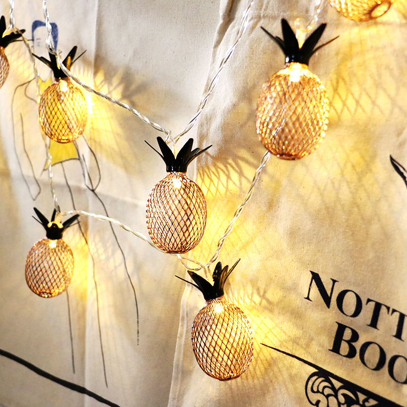 10Led 6.5CM Fairy Metal Pineapple Battery Operated String Lights 1M LED Decoration For Christmas Garland New Year gerlyanda 2018