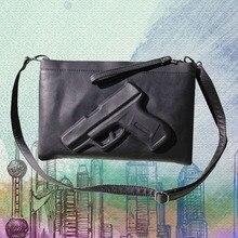 Fabrik verkauf Frau Schwarze Handtasche frauen Pistole Taschen Mode Kupplungen Umschlag Tasche Adrette Vintage Reißverschluss Messenger Pistole 3D Taschen
