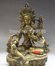 "002968 8 ""Tíbet Budismo Fane Bronce 24 K Oro kwan-yin Tara Verde Diosa Estatua de Buda"