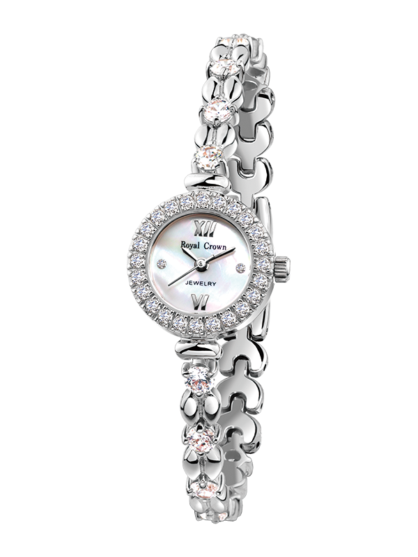 Royal Crown Jewelry Watch 6501B Italy brand Diamond Japan MIYOTA platinum Pearl dial Fine Fashion Luxury Rhinestones Girl's Gift royal crown jewelry watch 3850 italy brand diamond japan miyota platinum best fashion dress bracelet shell luxury rhinestones