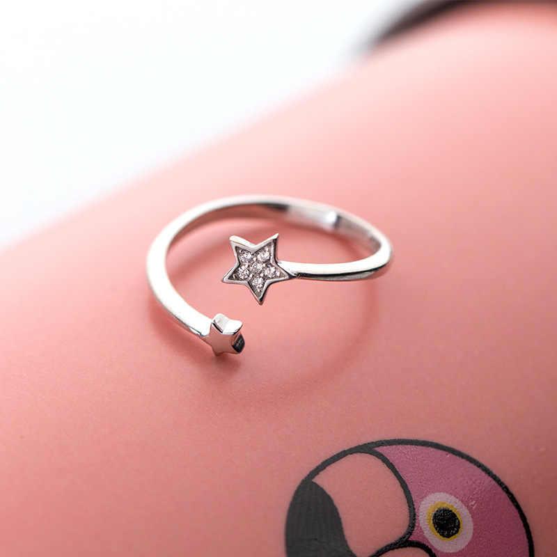 RYOUCUTE 100% Настоящее серебро 925 пробы ювелирные изделия мода большая кристаллическая звезда кольца для женщин Bijoux эффектное античное кольцо Anillos