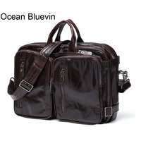 Океан BLUEVIN Для мужчин Портфели из натуральной кожи Для мужчин сумка Бизнес ноутбук портфели Сумки сумка Для мужчин кожаные сумки