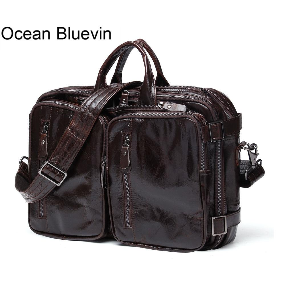 Океан BLUEVIN Для мужчин Портфели из натуральной кожи Для мужчин сумка Бизнес портфели для ноутбуков Сумки сумка Для мужчин кожаные сумки