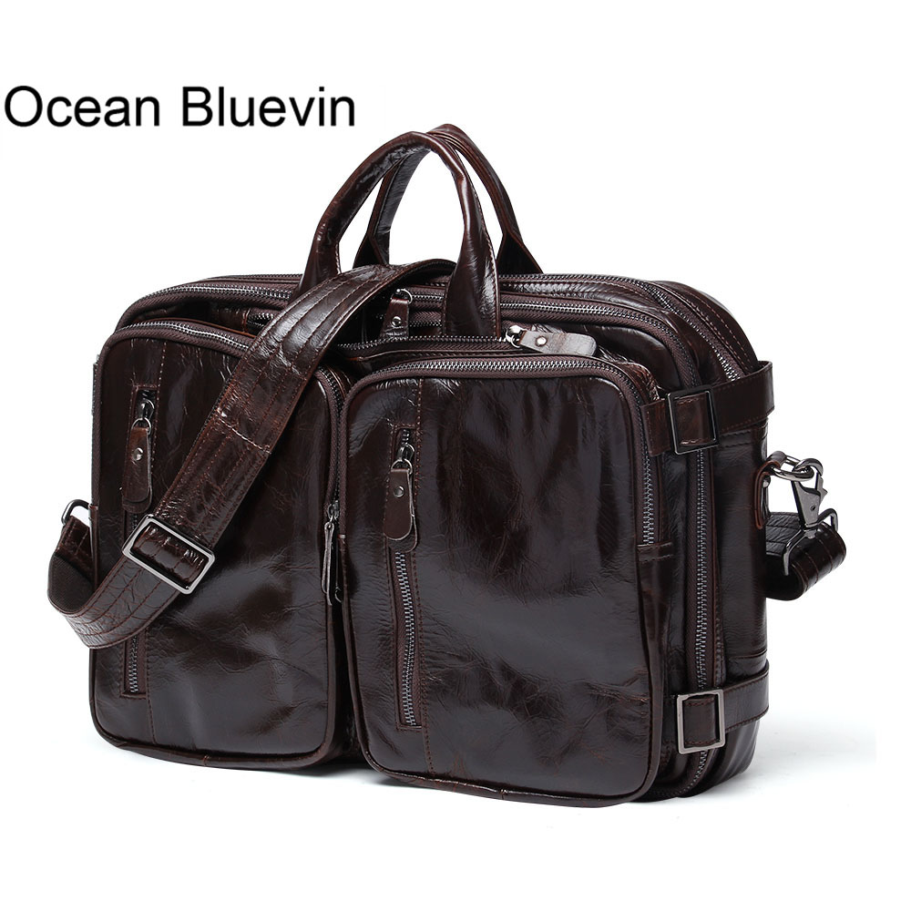 OCEAN BLUEVIN Men Briefcases Genuine Leather Men Bag Business Laptop Briefcases Handbags Messenger Bag Men Leather Shoulder Bags lacus jerry genuine cowhide leather men bag crossbody bags men s travel shoulder messenger bag tote laptop briefcases handbags