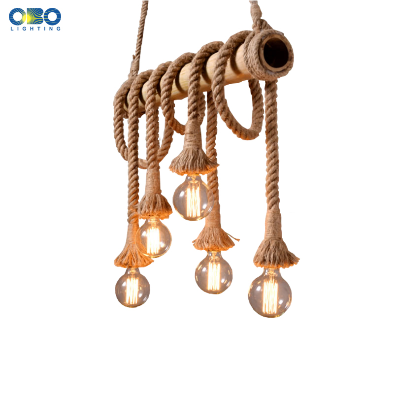 Vintage Hemp Rope Pendant Light AC90-260V E27 Loft Creative Personality Industrial Pendant Lamp for Restaurant Coffee BarVintage Hemp Rope Pendant Light AC90-260V E27 Loft Creative Personality Industrial Pendant Lamp for Restaurant Coffee Bar