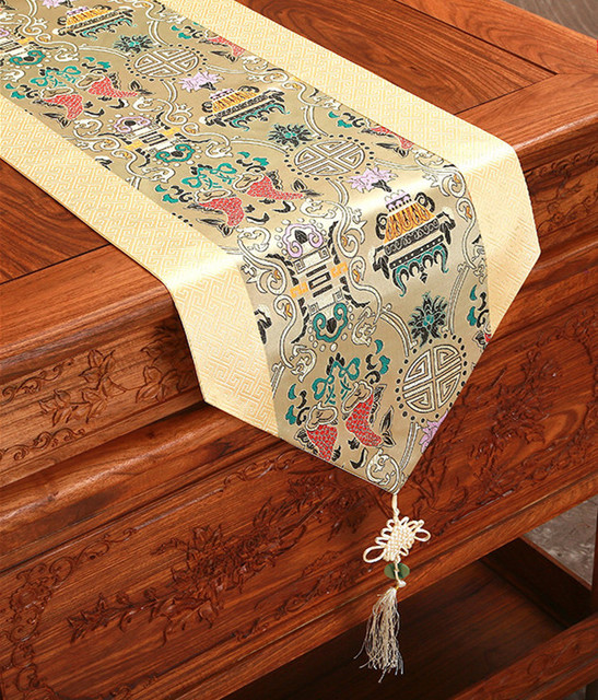 Patchwork Lucky Designs Table Runner Dining Room Table Pads Fashion Simple  China Ethnic Style Satin Brocade